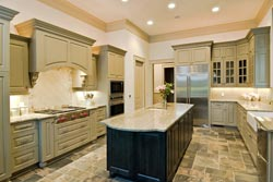 Granite kitchen green cabinets - Inland Empire Stylistic Stone