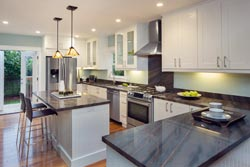 white cabinets Granite kitchen Granite Makeover